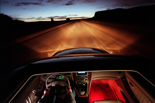 The Lexus SC300 at sunrise in Monument Valley. PD/Scott Shaw 1/30/98